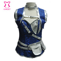 Blue Floral Jacquard and Silver PVC Leather Pouch Belt Steampunk Jacket Corset Sexy Set 6XL Corsets and Bustiers Gothic Clothing