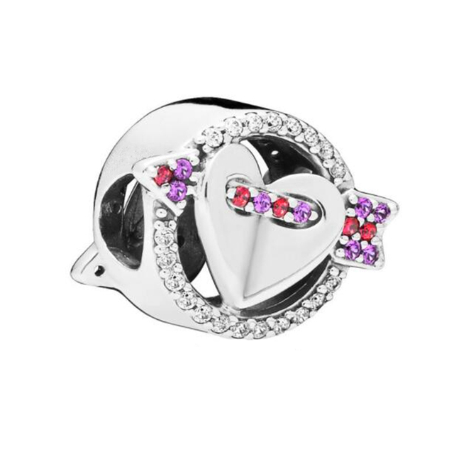 2019 Valentine's Day Sparkling Arrow & Heart Charm with shine Stone Fits Pandora Bracelets Charms Silver 925 Original Beads.
