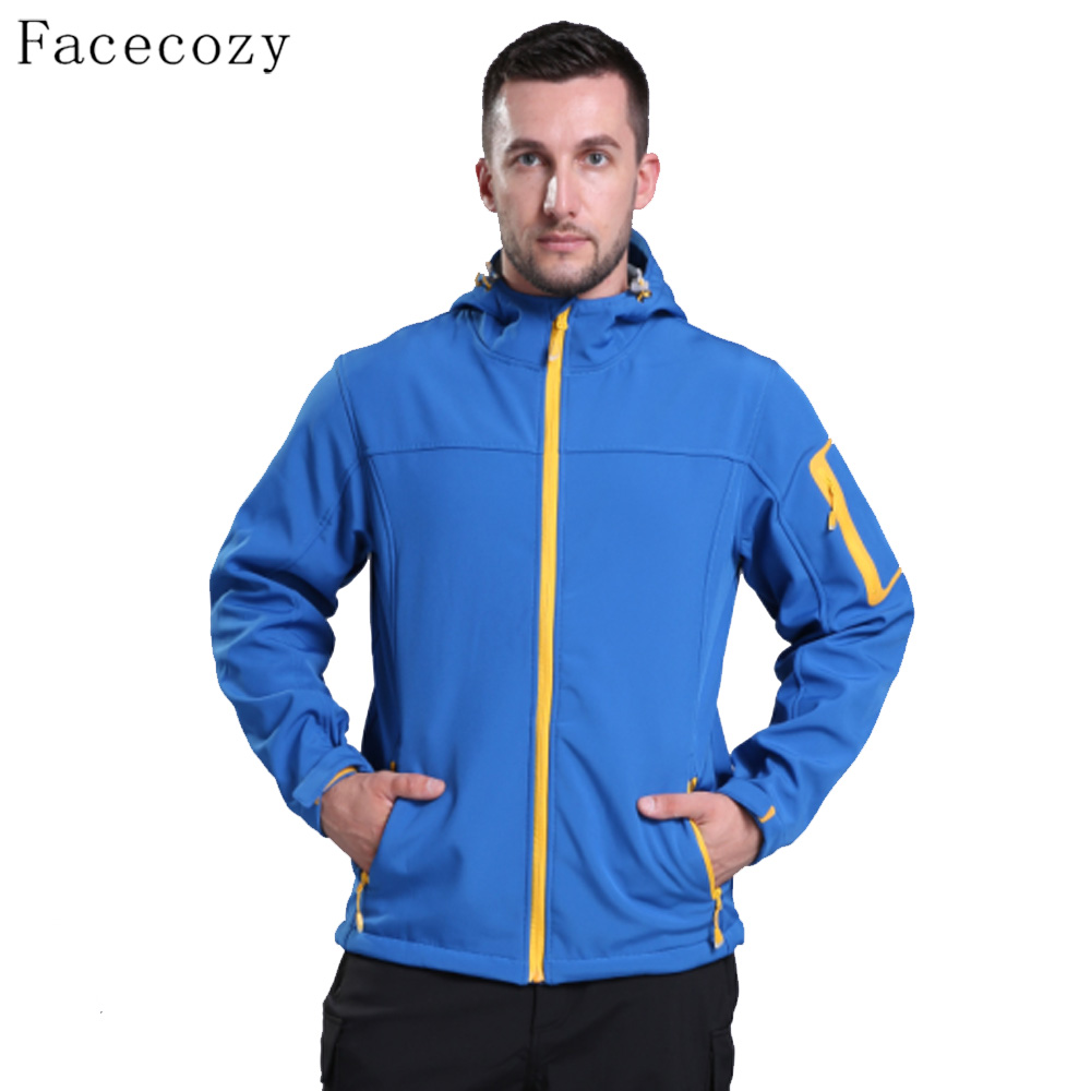 Facecozy Men Winter Outdoor Solid Color Softshell Jacket Hooded Zipper Pockets Breathable Windproof Camping Clothes children outdoor softshell jacket winter fleece waterproof windproof hooded skiiing camping