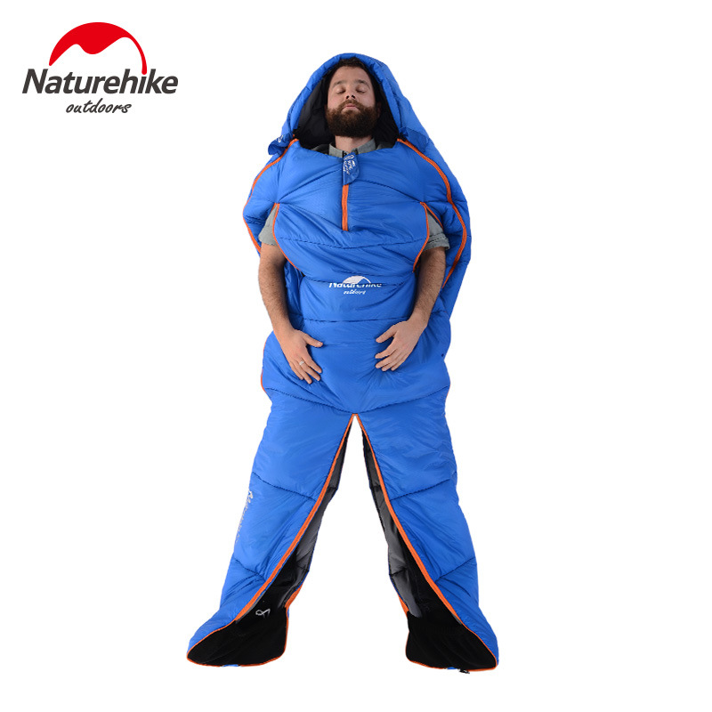 ФОТО Naturehike Splicing Mummy Single Sleeping Bag Cotton Leg Split Family Outdoor Indoor Human Shape Adult Camping Sleeping Bag