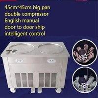 stainless steel double pan Double compressor fry ice cream machine,ice pan machine,fried ice cream roll machine
