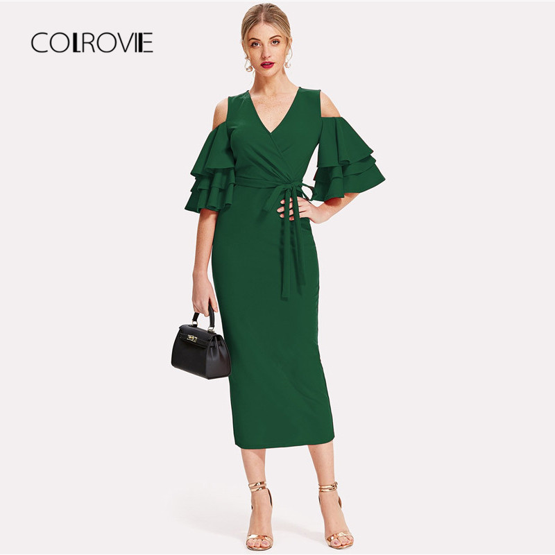 COLROVIE Green Cold Shoulder Ruffle Sleeve Belted V Neck Split Party Dress Women 2018 Autumn Solid Sexy Midi Bodycon Dresses