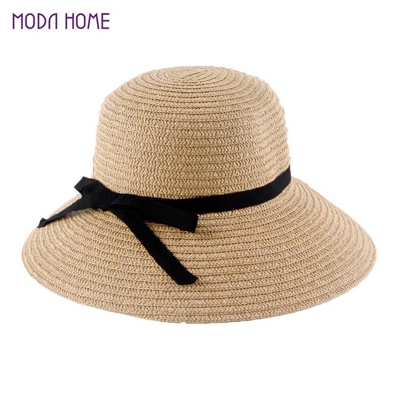 Nueva moda Sol sombrero de las mujeres sombreros de paja plegables del  verano para las mujeres Beach headwear 2 colores al por mayor de calidad  superior en ... d754a631322