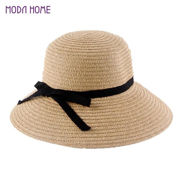 Nueva moda Sol sombrero de las mujeres sombreros de paja plegables del verano  para las mujeres 5ff4e6044d7