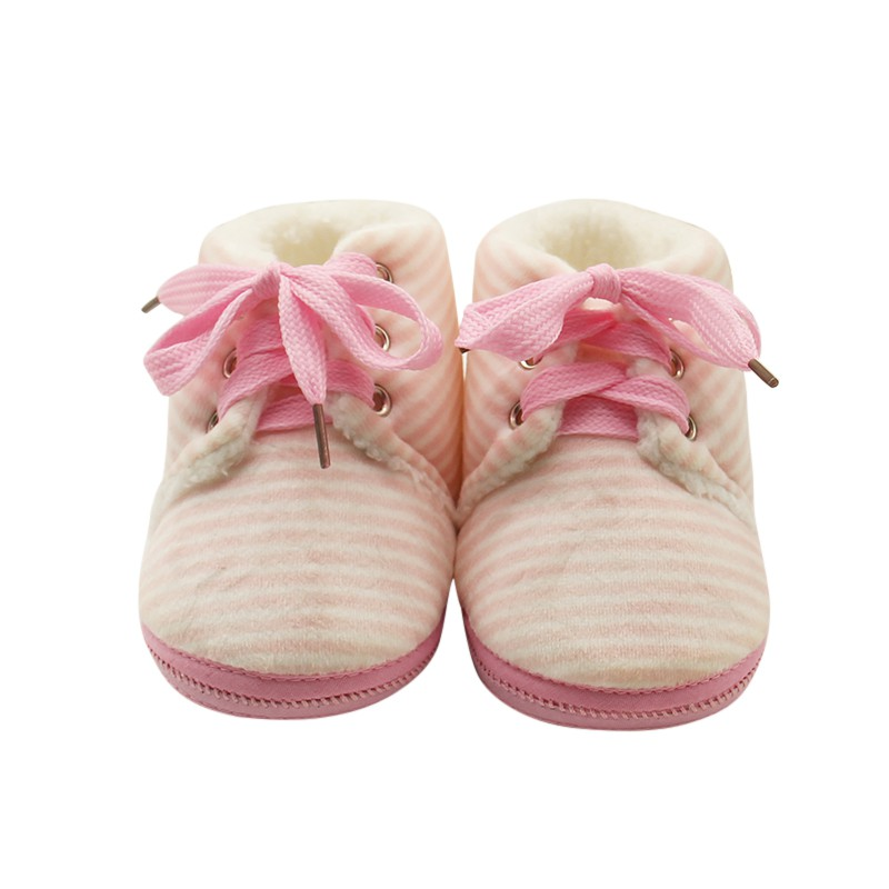 Baby Girls shoes winter 2017 Lace-up Striped Newborn Baby Princess Warm First Walkers Soft Soled Shoes