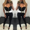2016 Hot fashion ladies long jumpsuit summer sleeveless bodycon rompers sexy strapless club wear