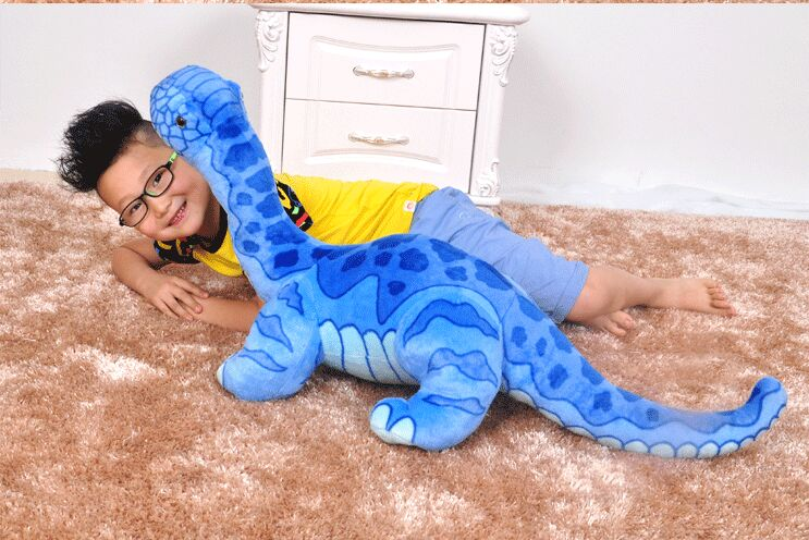 blue lovely simulation dinosaur toy creative big plush Wan Lung doll gift about 95x45cm 0277 big lovely simulation cow plush toy creative stuffed cow doll birthday gift about 75cm