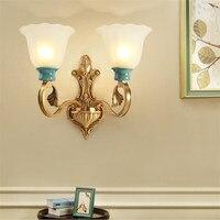 L78 american style Европейский минималистский полный Медь настенный светильник Керамика лампа Тенты для Задний план Спальня прикроватной тумбочке