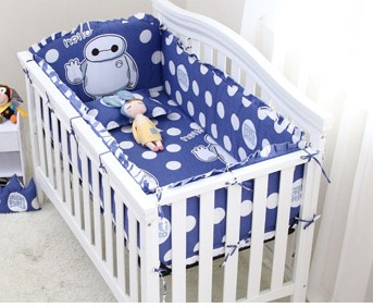 Promotion! 6PCS Child Bedding,Soft and Comfortable Crib Bedding Sets,(4bumper+sheet+pillowcase) recruitment and promotion