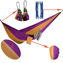 1 pcs Portable Outdoor Hammock 2 Person Garden Sport Leisure Camping Hiking Travel Kits Hanging Bed Hammocks hangmat 5 Colors