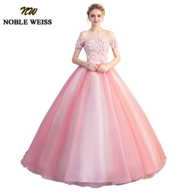 6584effaf6b NOBLE WEISS Pink Ball Gown Quinceanera Dresses 2019 Strapless Formal Sweet  16 Dress Long Floor Length