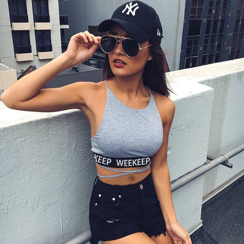 2019 Women Sexy Letter Print Patchwork Tanks Backless Bandage Camisole Female U Neck Vest Cropped Mujer Street Fashion Tube Tops