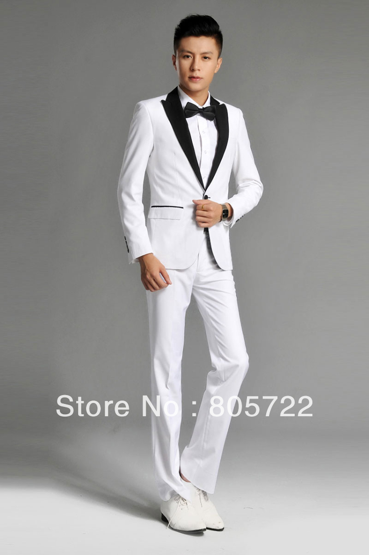 Custom Made Peak Lapel White Suits Black One On Jacket Pants Tie Wedding Groom Tuxedo Suit For Mens T269 In From Men S Clothing