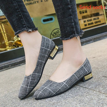 Korean work shoes female 2019 new spring  shoes black pointed shoes tide wild four seasons shallow mouth single shoes korean female black work shoes candy shoes pointed flat with flat shoes shallow mouth small son wild shoes b25