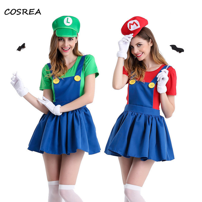 Adults Funy Super Mario Hats Luigi Brothers Plumber Cosplay Costumes For Women Girls Halloween Party Fancy Dress DropShipping