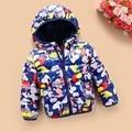 2016 новый осень зима дети Хлопок зимняя куртка мальчики девочки пуховик молния дети с капюшоном ветровки теплая Вниз для 2-6 лет