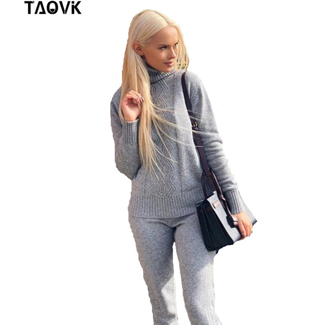 TAOVK Warm Knitted Suits Women's Sweater Sets Turtleneck crossed rhombus plaid sweater pants suits oversize knitwear club outfit