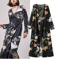 2017 mujeres del resorte dress de manga larga con cuello en v sexy dress floral imprimir vendaje dress loose bohemia divide dress robe femme