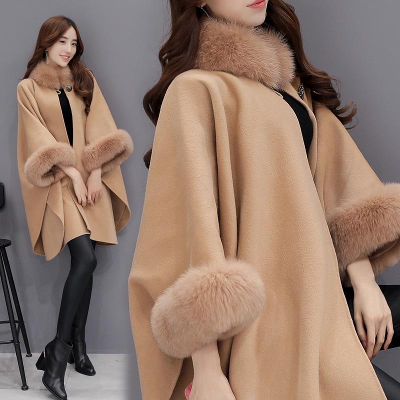 Mode Manteau Des 1 Laine Femme Châle Imitation De Femmes 2017 Renard Col Vestes La D'hiver Féminine Fourrure Veste 2 d4wYt