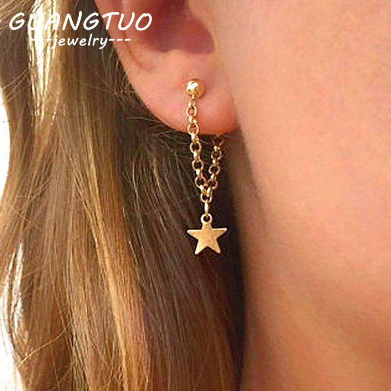 Fashion Simple Personality Pentagram Star Back Hanging Drop Earrings Korean Metal Chain Dangle Brincos Women's Jewelry EB130