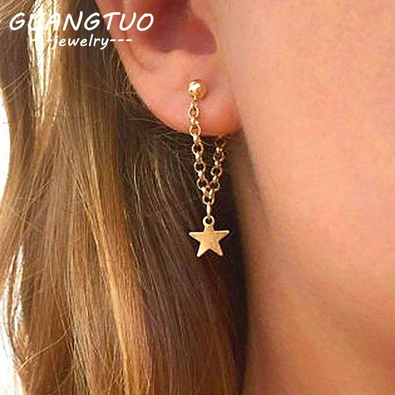 Fashion Simple Personality Pentagram Star Back Hanging Drop Earrings Korean Metal Chain Dangle Brincos Women's Jewelry