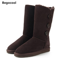 Begocool Brand Women Shoes Winter Fashion Ankle Boot For Woman Warm Fur Furry Lady Snow Boots