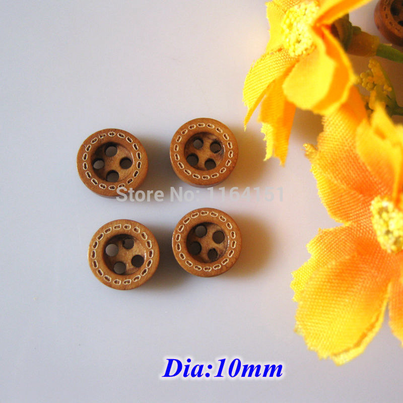 50 100 150pcs pack 4 Holes Natural Wooden Buttons bulk Scrapbooking products Sewing Accessories 10mm botoes crafts Accessories in Buttons from Home Garden