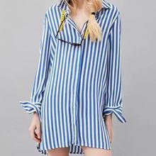 Mujeres za estilo UK8235 tejer irregular prinstiped larga camisas blusa  rayas Jersey suéter de punto mujeres 1c49126752d2