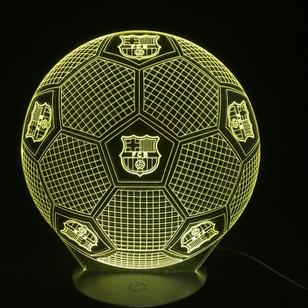 3D Soccer Ball Sports Night Light LED Touch Visual Decor Football Table Lamp 7 Color Changing USB Baby Sleep Lighting Kid Gifts