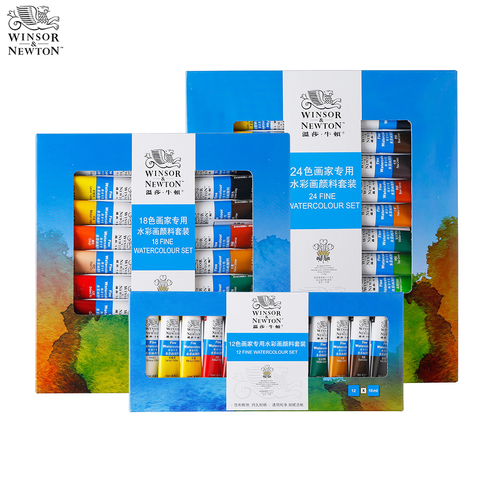 цена 24 Colors Winsor Newton Watercolor Paint Set Water Color Paints for Fabric Textile Pigment Drawing Painting for Artist Acuarelas