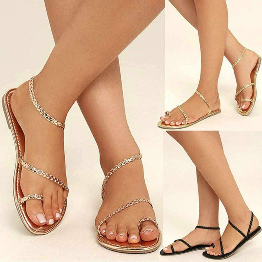 babef3474419 ... Summer Fashion Leather Women Sandals Strappy Gladiator Slippers Woman Flats  Flip Flops Shoes Summer Beach Sandals