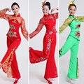 Mujer de Encaje Traje Del Bailarín Sexy Chino Yangko Bailando Vestido de Top + Pants + Headwear China Nacionales Traje de la Etapa de Ropa de Baile 16