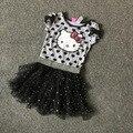 Бесплатная Доставка 8 Шт./лот 4-12 летних девочек hello kitty платье девушки летом платья балетной пачки