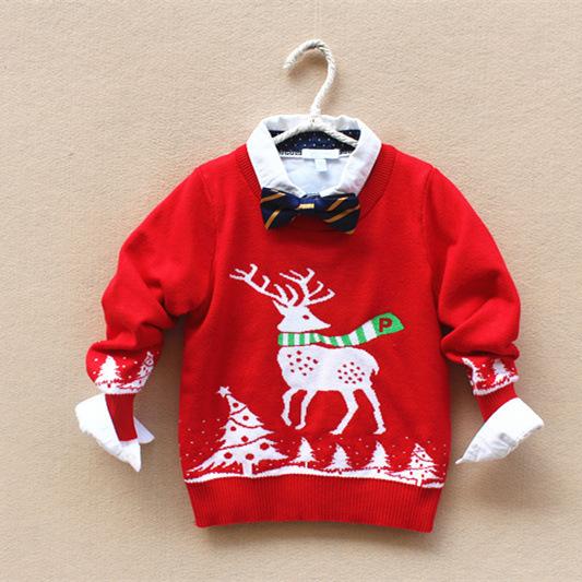 Envío Gratis 5 unids/lote Estilo de Otoño e Invierno de Punto de Algodón Suéter para 2-7yrsBaby Niños y Niñas, Navidad Alces Jacquard