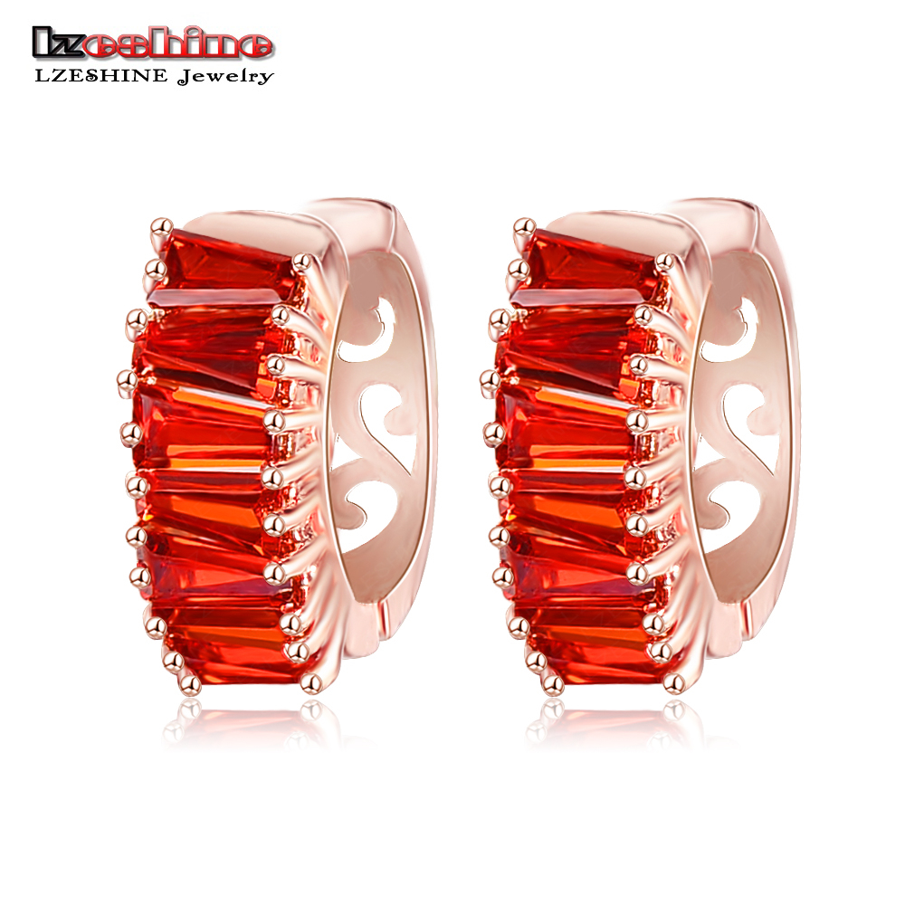 Aliexpress : Buy Lzeshine New Stylish Hoop Earrings Rose Gold Color  Inlay Red Color Cz Stone Women Brincos Wholesale 2016 Cer0147 A From  Reliable Hoop
