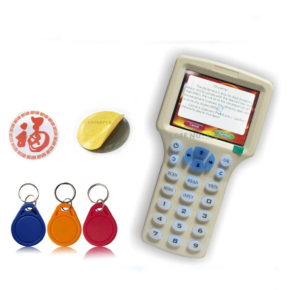 цены на English 10 frequencys RFID Copier ID IC Reader Writer copy M1 13.56MHZ encrypted Duplicator Programmer(free) +extra RFID sticker в интернет-магазинах