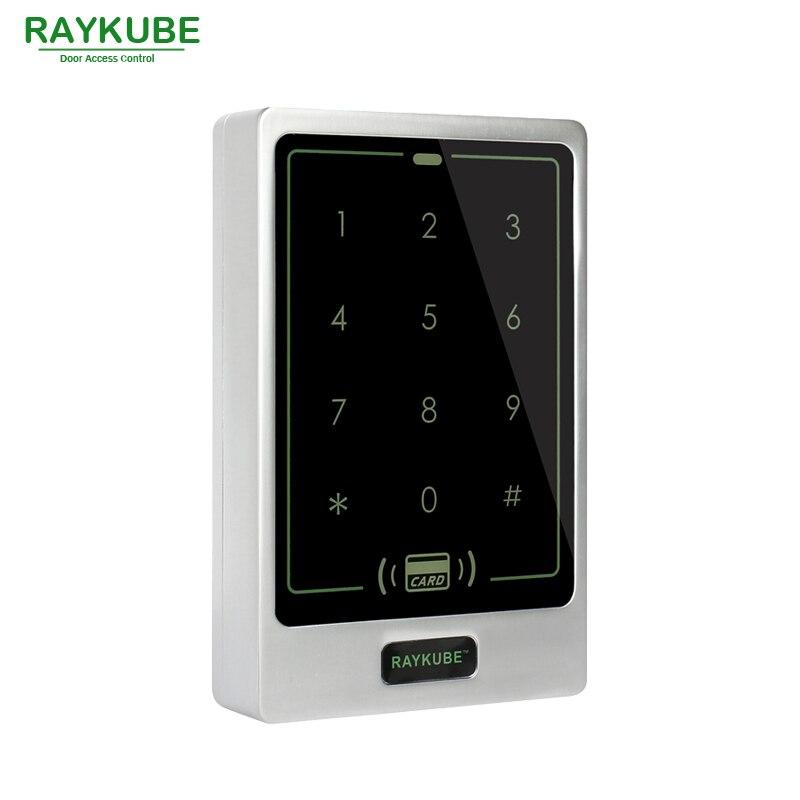 RAYKUBE Door Access Controller Touch Password Keypad RFID 125HKz Card Reader Waterproof IPX3 R-T02 Silver rfid card reader door access controller