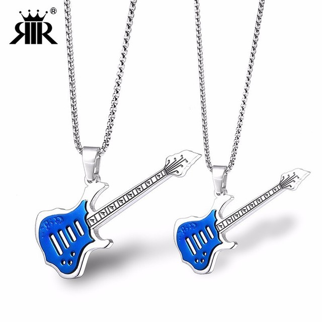Rir Rock Guitar Necklace Pendant Men Stainless Steel Electric Guitar