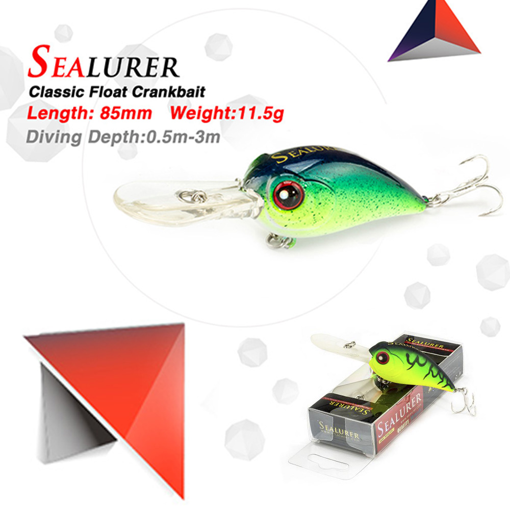 SEALURER 1pcs Fishing lure Float Wobblers Crankbait Minnow High Quality Tackle 8.5CM 11.5g Artificial Bait with 3D Eyes 8# Hooks sealurer big tongue minnow fishing lure float wobbler 16cm 27 5g sea fly pesca hard bait crankbait tackle 1pcs lot