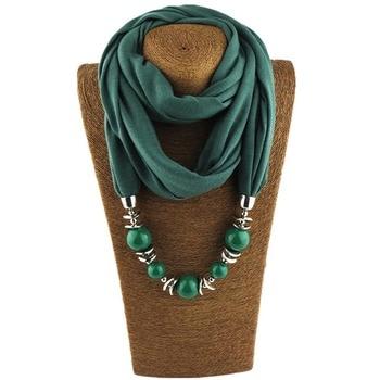 Fashion designer scarf Ethnic Chiffon Solid Collar Tassel Gorgeous beaded pendants jewelry Necklace Scarf Women