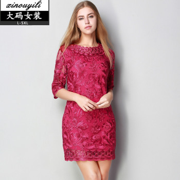 2017 spring summer women new embroidery lace dress 5xl Slim o neck large size hollow out pleated mini dress woman xxxxxl
