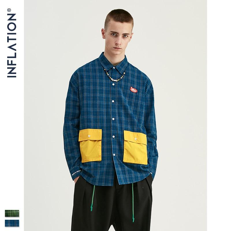 INFLATION Classic Plaid Shirt Men Streetwear Loose Shirt 2019 FW Men Cotton Oversized Shirt Men Shirt Long Sleeve 92118W