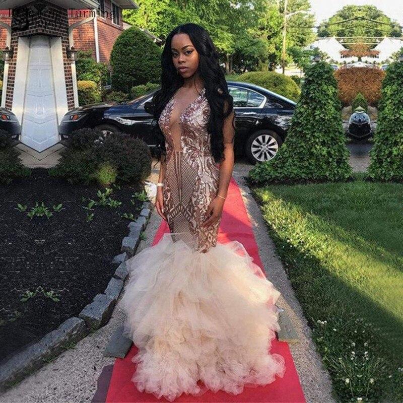 Sexy or longues robes de bal 2019 col transparent dentelle volants africain Tulle longueur de plancher sirène robes de soirée