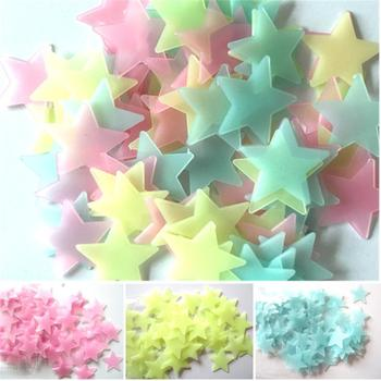 100PC Kids Bedroom Fluorescent Glow In The Dark Stars Glow Wall Stickers Stars Luminous luminous glow sticker color 8.13 1