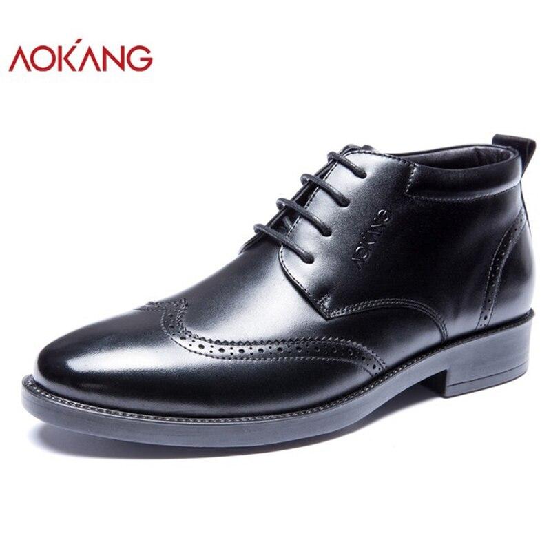 Aokang de invierno de los hombres botas de hombre de cuero genuino zapatos de moda Zapatos de encaje negro zapatos a ankel botas de alta calidad zapatos para los hombres