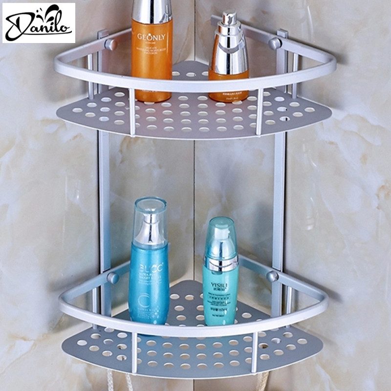 Hot Sale Space Aluminum Bathroom Shelf Two Layer Wall Mounted Shower