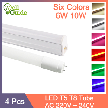 4pcs RGB Grow LED Tube T5 LED T8 Tube Lamp 6W 10W AC110V 220V 240V Fluorescent Light LED Wall Lamp Red Green Bule Pink 30cm 60cm 3aaa yz 418eaa t8 tc l 220 240v 4 18w 4 15w 2 36w t8 electronic ballast for t8 fluorescent lamp advertising light box rectifier