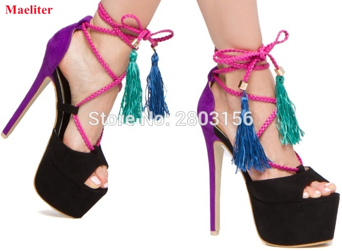 Women sky-high tassel sandals thin strappy lace up multi-color platform fringe high heels dress shoes strappy dress with lace up detail