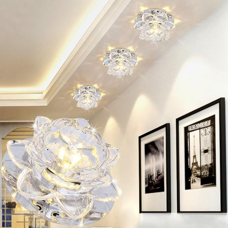 1pcs Crystal Lamp Modern Crystal Flower LED Light Pendant Lamp Fixture Downlight
