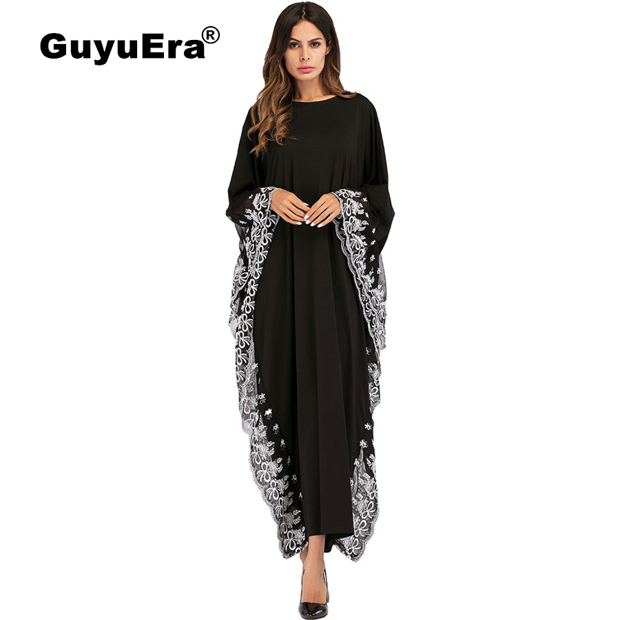 GuyuEra New African Dresses for Women European and American Bat Sleeve Embroidered Dress Muslim Robes Plus